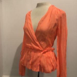 J. CREW Gorgeous silk wrap blouse Bright Orange